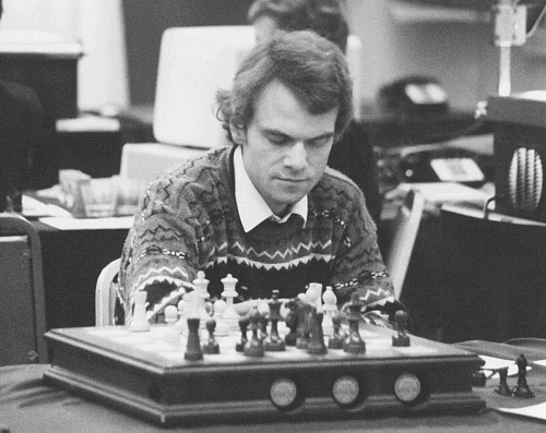 Lang playing Mephisto at the 20th ACM North American Computer Chess Championship in Reno, Nevada