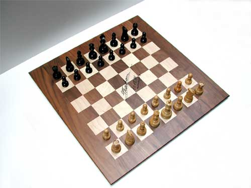 Photo of actual chess board used in match