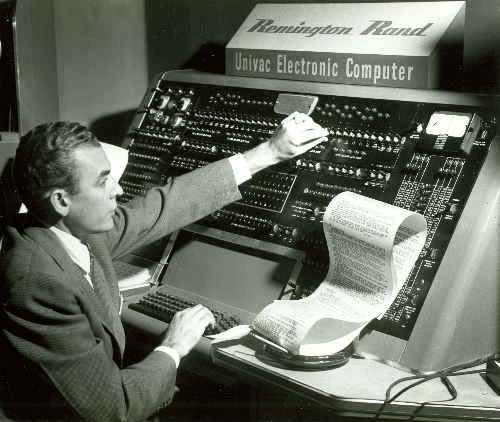 CBS Reporter Charles Collingwood at the Univac I console