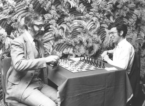Cahlandar and Levy at the 10th ACM North American Computer Chess Championship in Detroit, Michigan