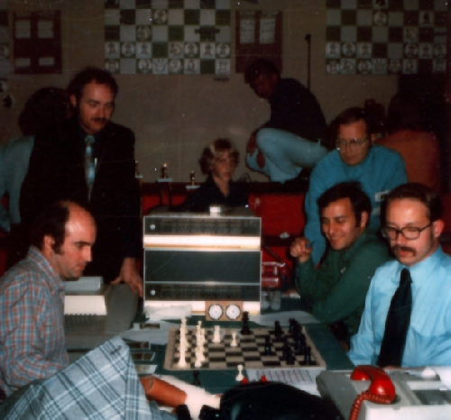 Newborn and Courtois at the 6th ACM North American Computer Chess Championship in Minneapolis, Minnesota