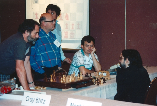 Levy (left) and Thompson at 6th World Computer Chess Championship in Edmonton, Alberta