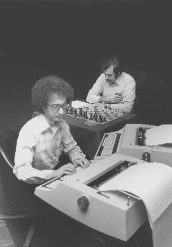 Larry Atkin (front) and David Slate at the 10th ACM North American Computer Chess Championship in Detroit, Michigan