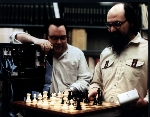 Joe Condon and Ken Thompson in front of Belle chess computer