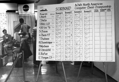 Scoreboard at the 10th ACM North American Computer Chess Championship in Detroit, Michigan