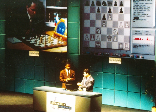Maurice Ashley and Yasser Seirawan analyzing gameplay during Deep Blue vs. Kasparov re-match in New York City, New York