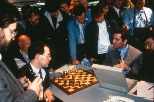 Joe Hoane (left) and Garry Kasparov at the 1991 CeBIT show in Hanover, Germany