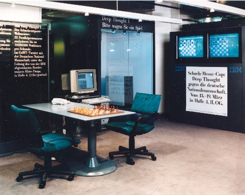 Deep Thought on display at the 1991 CeBIT show in Hanover, Germany