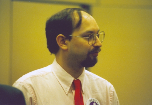 International Grandmaster and Deep Blue project consultant Joel Benjamin at the 1996 Deep Blue vs. Kasparov match in Philadelphia, Pennsylvania