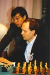 Deep Blue team members Murray Campbell and Feng-Hsiung Hsu at the start of the Deep Blue vs. Kasparov match in Philadelphia, Pennsylvania