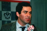 Close-up of Kasparov after winning against IBM's Deep Thought at the New York Academy of Art