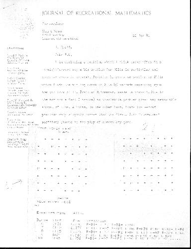 Letter to Robert Hyatt