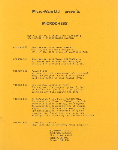 Microchess Order Form