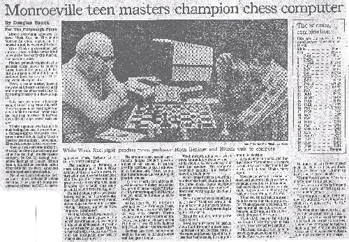 Monroeville Teen Masters Champion Chess Computer