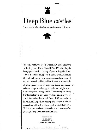 IBM advertisement: Deep Blue Castles