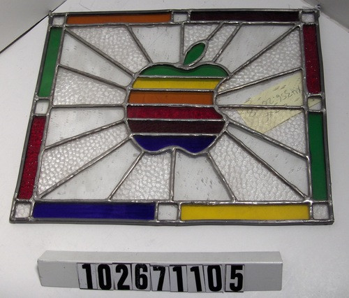 Apple logo stained glass 102671105 computer history museum - Eco friendly large glass windows offering effective energy savings for contemporary residence ...
