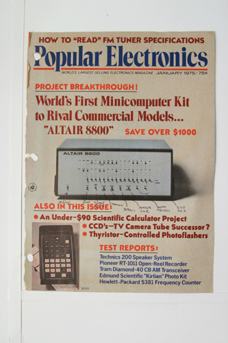 Altair 8800 on cover of Popular Electronics magazine | Computer ...