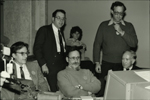 "Early MIT computing pioneers at The Computer Museum, Boston, observing restored TX-0 computer. From left to right: Jack Dennis, Alan Kotok, Martin ""Shag"" Graetz, Dave Gross and John McKenzie"